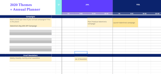 Set up your blogging campaigns on the calendar