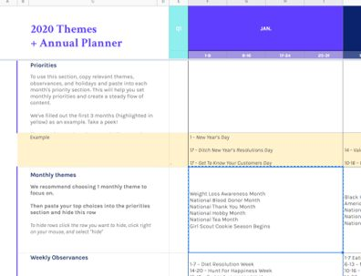 Setup your blog planner by selecting that month's theme as shown here in row 5